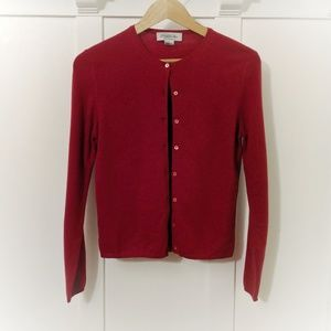 Garnet Red 100% Cashmere Cardigan Brooks Brothers